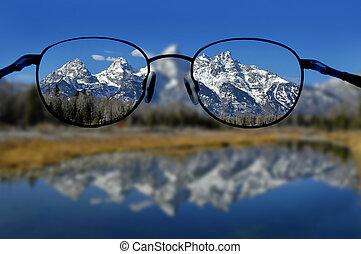 山, 明確な視野, ガラス
