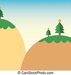 山, 木, 漫画, クリスマス