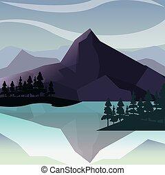 山, 木, 自然, 湖, 風景
