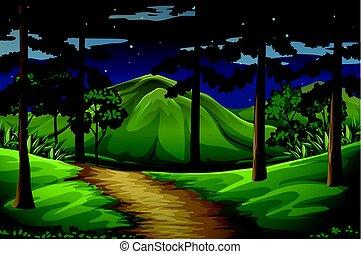 山, 森林, 現場, 道