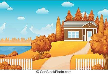 山, 湖, 風景, 家