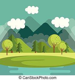 山, 湖, 風景, 現場