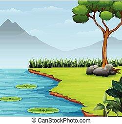 山, 現場, 湖, 背景, 自然