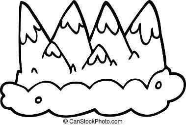 山, 白, 黒, 漫画