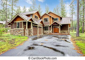 山, 石, 木, ぜいたくな家, exterior.