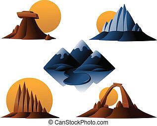 山, 砂漠, アイコン