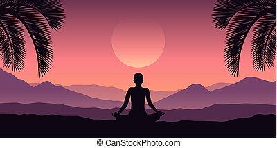 山, 紫色, トロピカル, 色, 赤, 平和である, 瞑想, 風景