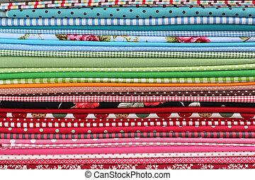 山, 背景, カラフルである, 綿, 織物