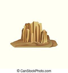 山, 自然, モビール, 大きい, environment., 囲まれた, 平ら, ゲーム, ベクトル, 石, 背景, sand., 砂漠の 景色