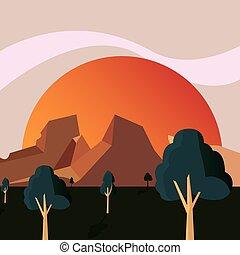 山, 自然, 太陽, 地勢, 木, 風景