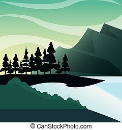 山, 自然, 湖, 松, ブッシュ, 森林, 風景