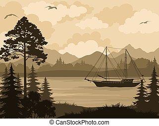 山, 船, 風景, 湖, 木