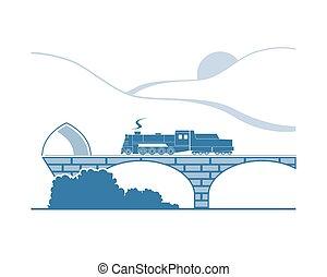 山, 蒸気, 機関車