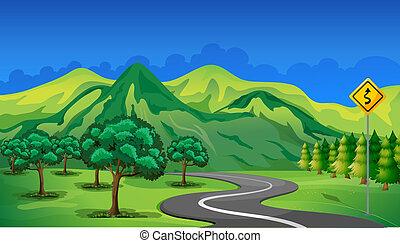 山, 行く, カーブ, 道
