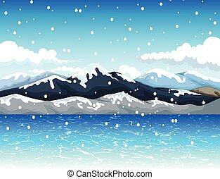 山, 雪, 美しさ, 漫画
