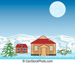 山, 雪, 背景, 村