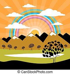 山, 雲, 自然, 太陽, 木, 湖, 背景