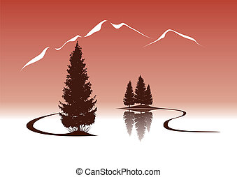 山, 風景, モミ, 湖, イラスト