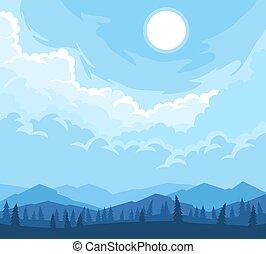 山, 風景, 木, シルエット, 前景