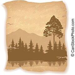 山, 風景, 木, 川