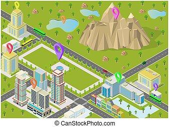 山, 風景, 等大, 建物都市