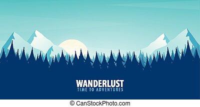 山, 風景, illustration., ベクトル, シルエット, 背景, 自然, 木。