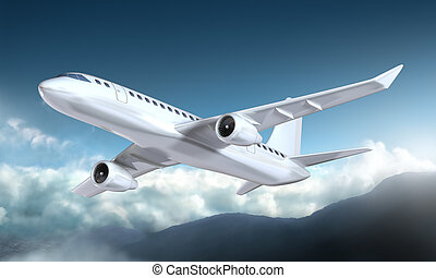 山, 飛行機, 飛行, の上