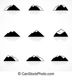 山, 黒, アイコン