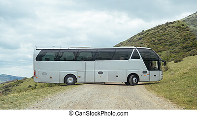山, geogrian, 道, 白, バス