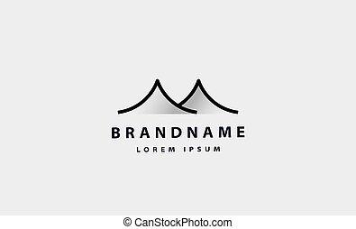 山, monoline, ロゴ, 単純である, デザイン, ベクトル, 砂漠