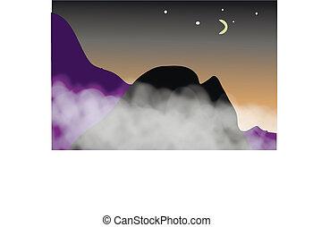 山, night., 光景