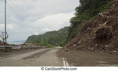山, road..camiguin, 地すべり, 島, フィリピン。