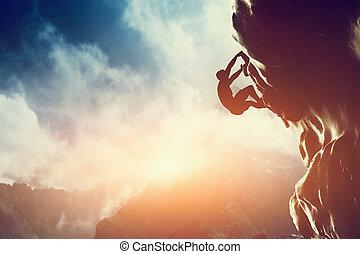 岩, 山, sunset., 男登山, シルエット
