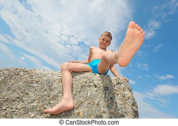 岩, 男の子, 座る, 光景, 底