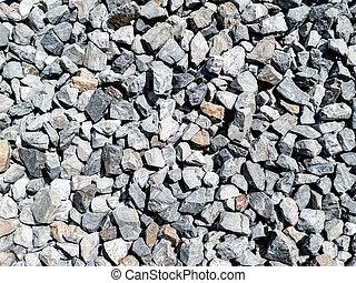 岩, 砂利, 押しつぶされた, 手ざわり, 小片