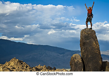 岩, nearing, summit., 登山家