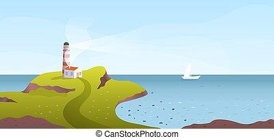 岬, 見落とすこと, 海, 灯台