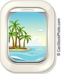 島, 窓, 飛行機, 光景
