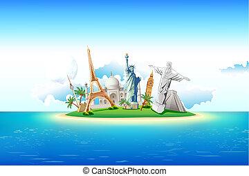 島, 記念碑