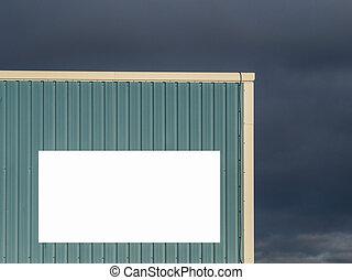 嵐である, に対して, 印, 背景, ブランク, 倉庫, メッセージ, 雲