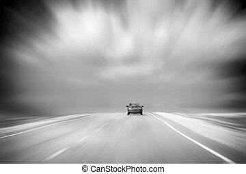嵐である, アスファルト, sky., 自動車, 白黒, countryside., 動き, blur., copy-space., 後部, スピード違反, 曇り, イメージ, 道, 光景