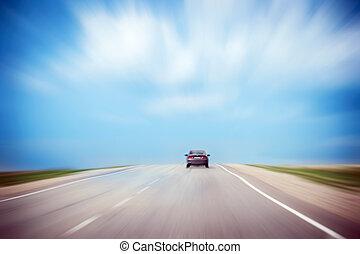 嵐である, アスファルト, sky., 自動車, countryside., 動き, copy-space., blur., 劇的, 後部, スピード違反, 曇り, 道, 光景