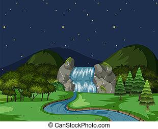 川, 光景, 夜