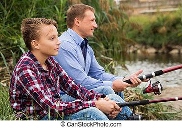 川, 息子, 父, 釣り