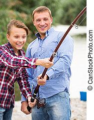 川, 息子, 釣り, 父