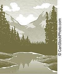 川, 木版, 荒野, 現場