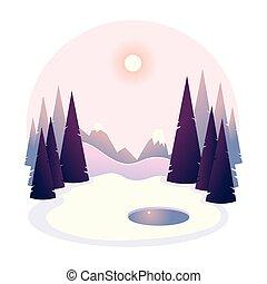 川, 木, 冬, 凍らせられた, 風景, 湖, ∥あるいは∥