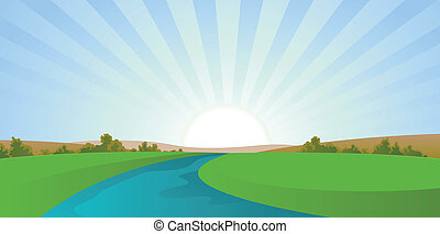 川, 漫画, 風景