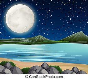 川, 現場, 夜