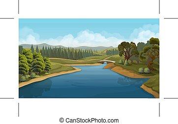 川, 風景, ベクトル, 背景, 自然